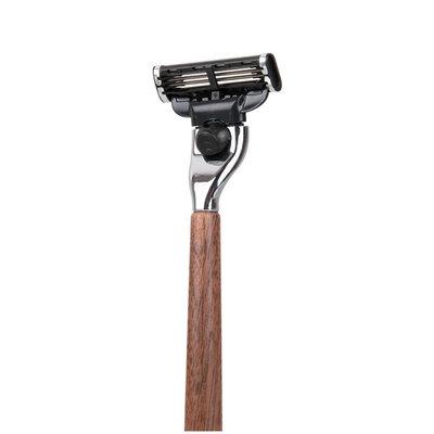 Rasoir avec manche en bois de noyer - Lame remplaçable GilletteMach3