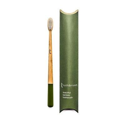 Brosse à dents vert olive en bambou poils végétaux et huile de ricin - medium