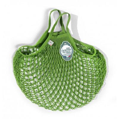 Filet de mémé à provisions porté main vert laitue en coton