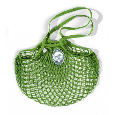 Filet de mémé à provisions porté épaule vert laitue en coton