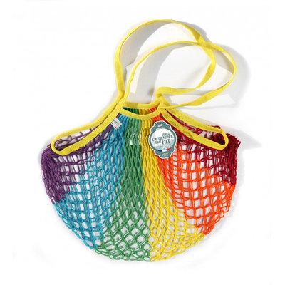 Filet de mémé à provisions porté épaule rainbow en coton