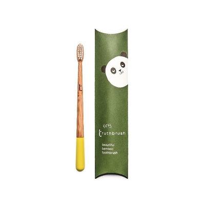 Brosse à dents enfant en bambou jaune soleil en poils végétaux et huile de ricin Sunshine Yellow