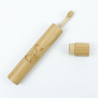 Etui à brosse à dents en bambou de voyage, taille enfant