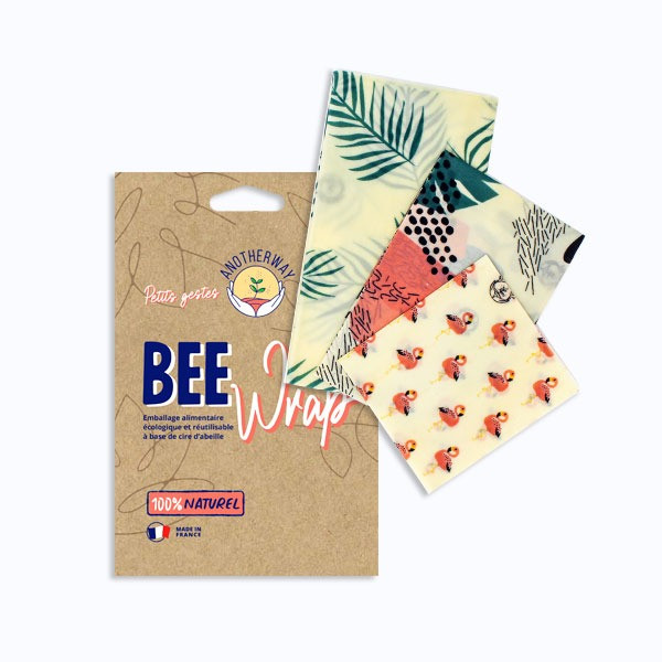 Bee Wrap 3 emballages réutilisables Flamant rose taille S