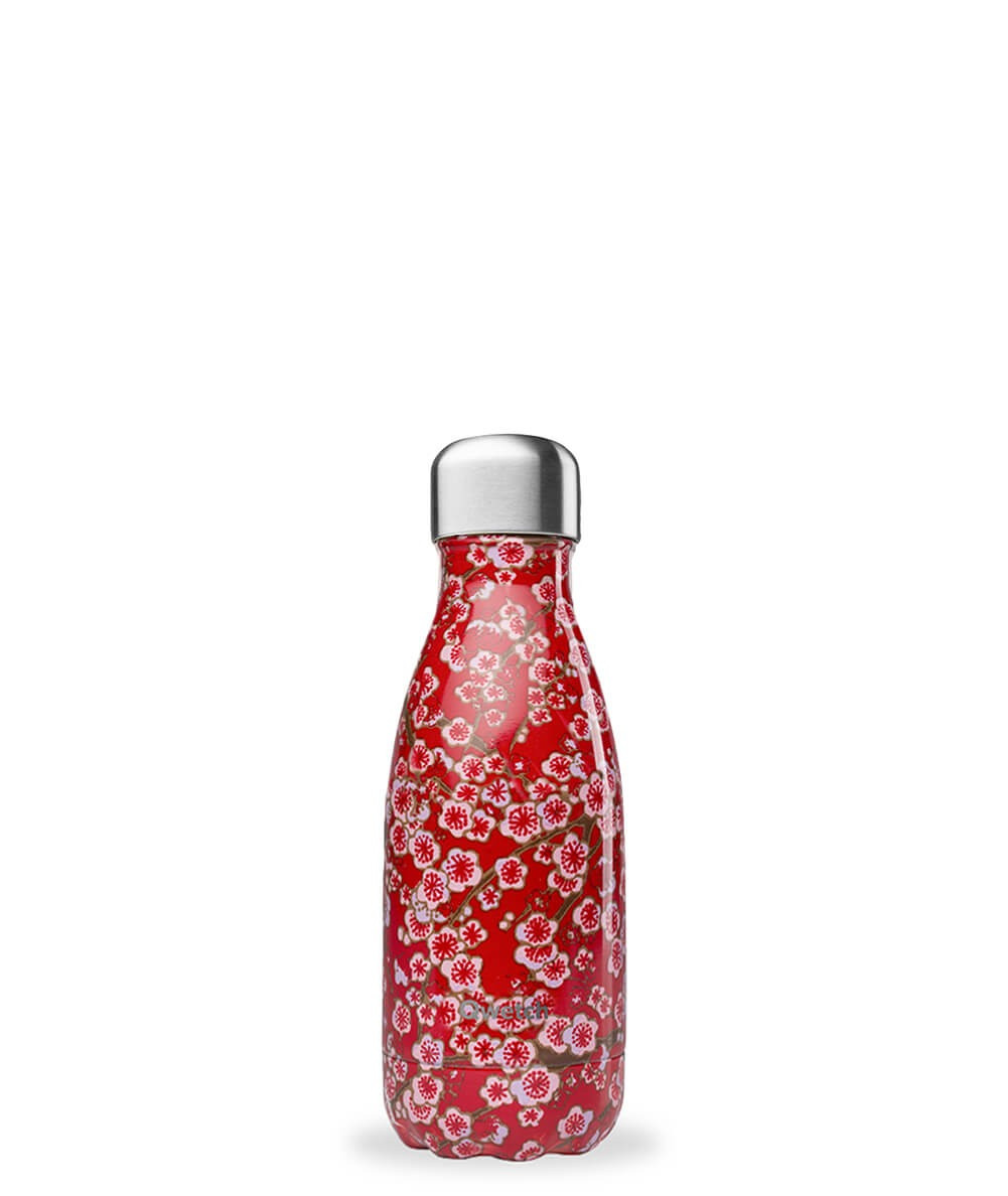 Bouteille Flowers rouge 260 ml inox, isotherme et sans BPA