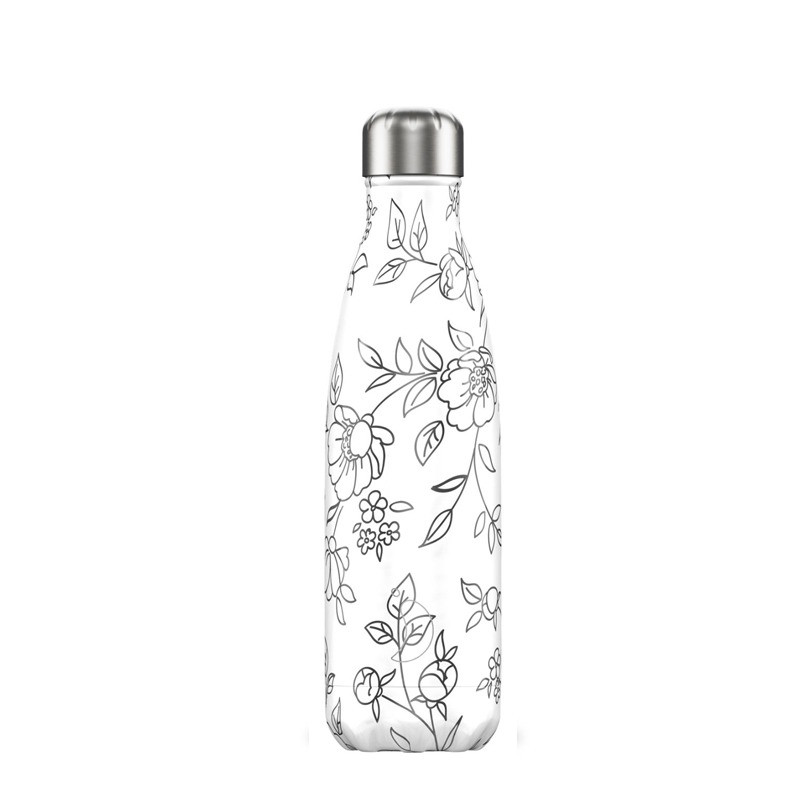 Bouteille Line Art fleurs 500 ml inox, isotherme