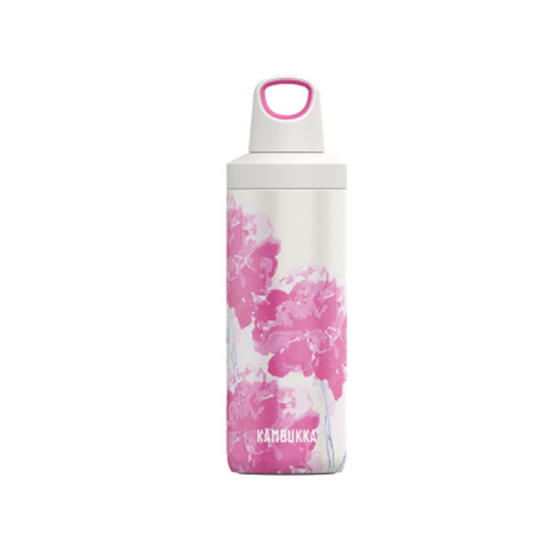 Bouteille isotherme Reno Pink Blossom 500 ml inox et anti fuite