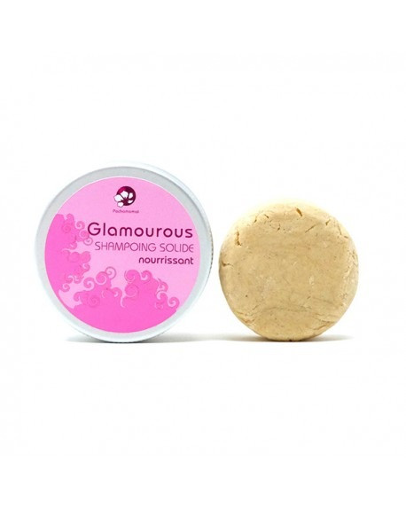 Shampoing solide vegan Glamourous cheveux secs 25 g en boite metal rechargeable